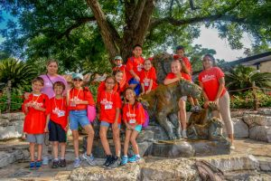 Summer Camp: Northeast Center Group in Front of Animal Statues