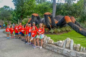 Summer Camp: Northeast Center Group in Front of Giant Mechanical Spider