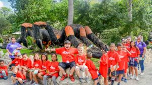 Summer Camp: Northwest Center Group in Front of Giant Mechanical Spider